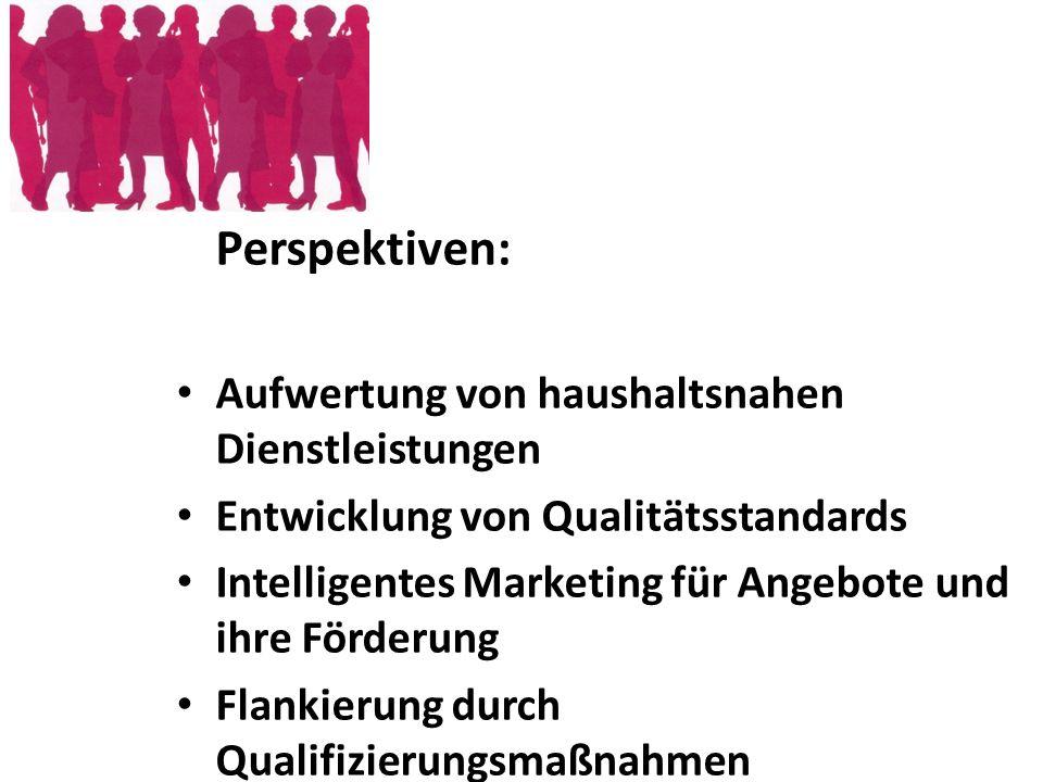 Perspektiven: Aufwertung von haushaltsnahen Dienstleistungen Entwicklung von Qualitätsstandards Intelligentes Marketing für Angebote und ihre Förderun