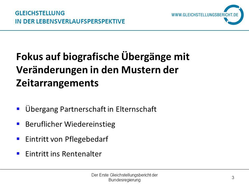 Der Erste Gleichstellungsbericht der Bundesregierung 3 GLEICHSTELLUNG IN DER LEBENSVERLAUFSPERSPEKTIVE Fokus auf biografische Übergänge mit Veränderun