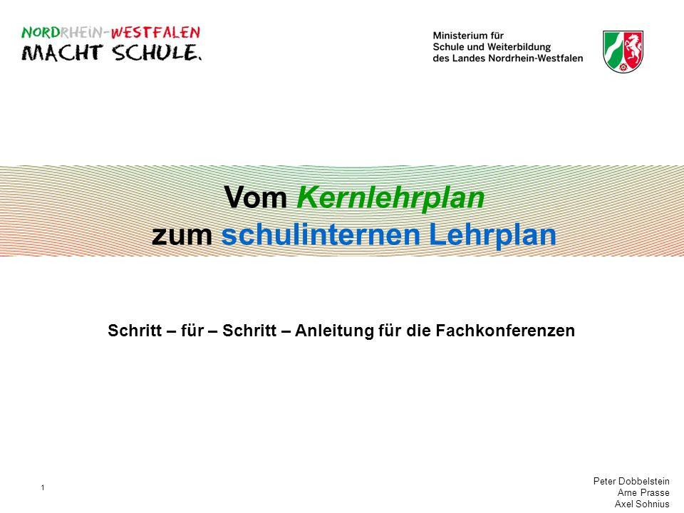 Peter Dobbelstein Arne Prasse Axel Sohnius 1 Vom Kernlehrplan zum schulinternen Lehrplan Schritt – für – Schritt – Anleitung für die Fachkonferenzen
