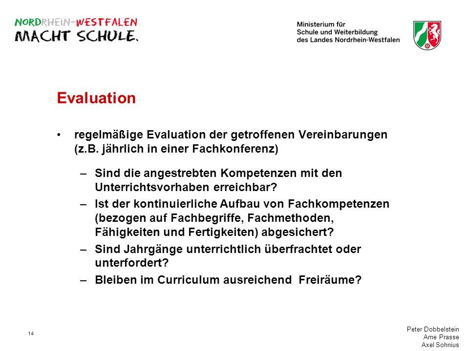 Peter Dobbelstein Arne Prasse Axel Sohnius 14 Evaluation regelmäßige Evaluation der getroffenen Vereinbarungen (z.B. jährlich in einer Fachkonferenz)