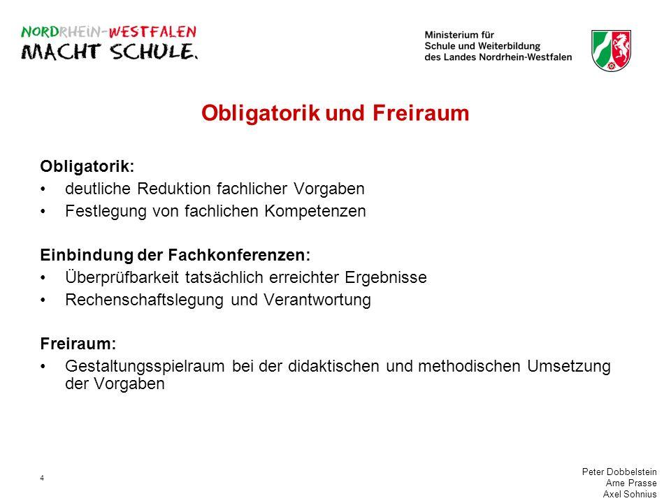 Peter Dobbelstein Arne Prasse Axel Sohnius 4 Obligatorik und Freiraum Obligatorik: deutliche Reduktion fachlicher Vorgaben Festlegung von fachlichen K