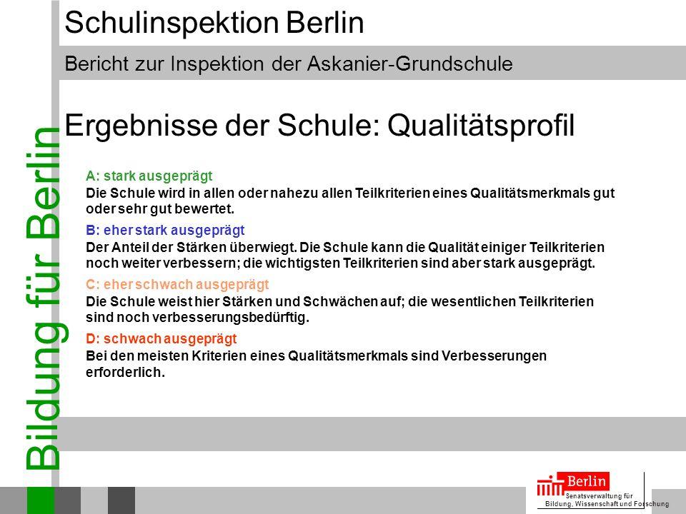 Bildung für Berlin Senatsverwaltung für Bildung, Wissenschaft und Forschung Bericht zur Inspektion der Askanier-Grundschule Schulinspektion Berlin Erg