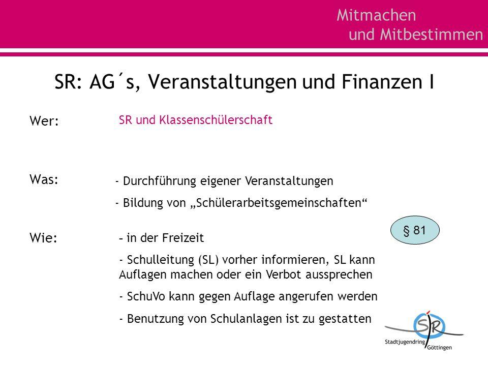 Mitmachen und Mitbestimmen SR: AG´s, Veranstaltungen und Finanzen I Wer: Was: Wie: SR und Klassenschülerschaft - Durchführung eigener Veranstaltungen