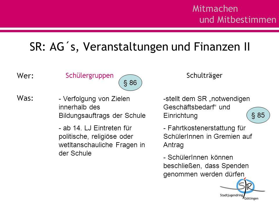 Mitmachen und Mitbestimmen SR: AG´s, Veranstaltungen und Finanzen II Wer: Was: Schülergruppen - Verfolgung von Zielen innerhalb des Bildungsauftrags d