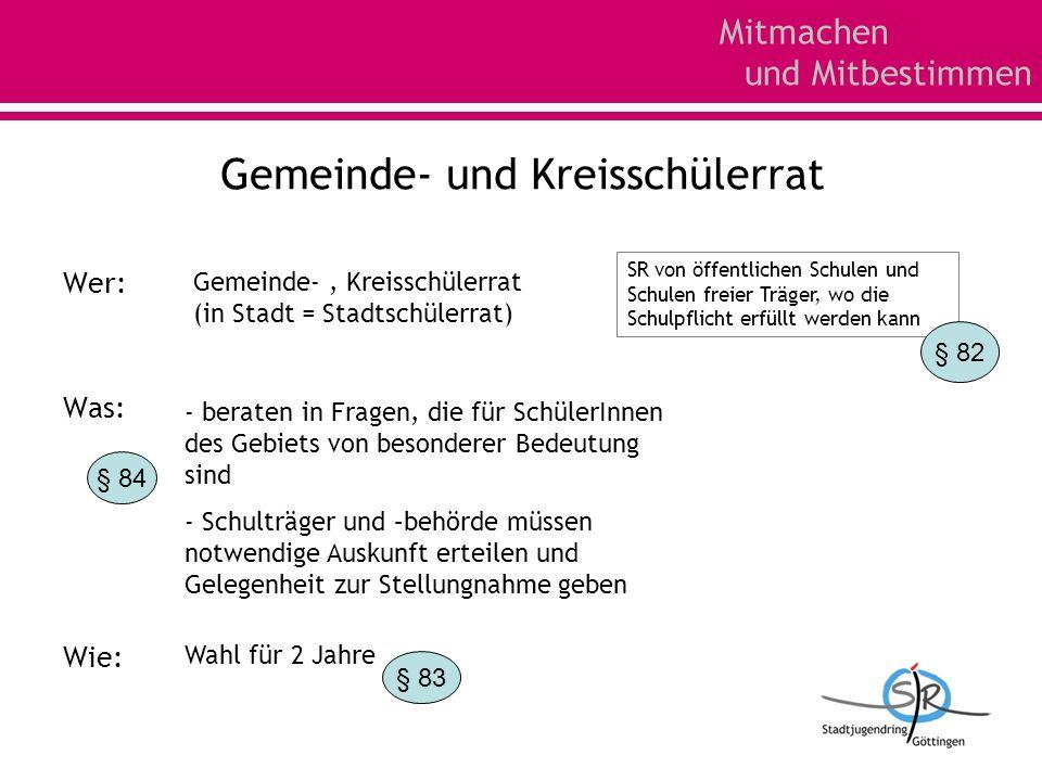 Mitmachen und Mitbestimmen Gemeinde- und Kreisschülerrat Wer: Was: Wie: SR von öffentlichen Schulen und Schulen freier Träger, wo die Schulpflicht erf