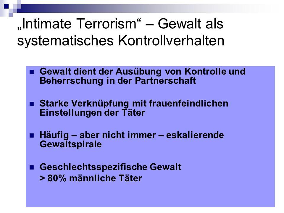 Intimate Terrorism – Gewalt als systematisches Kontrollverhalten Gewalt dient der Ausübung von Kontrolle und Beherrschung in der Partnerschaft Starke
