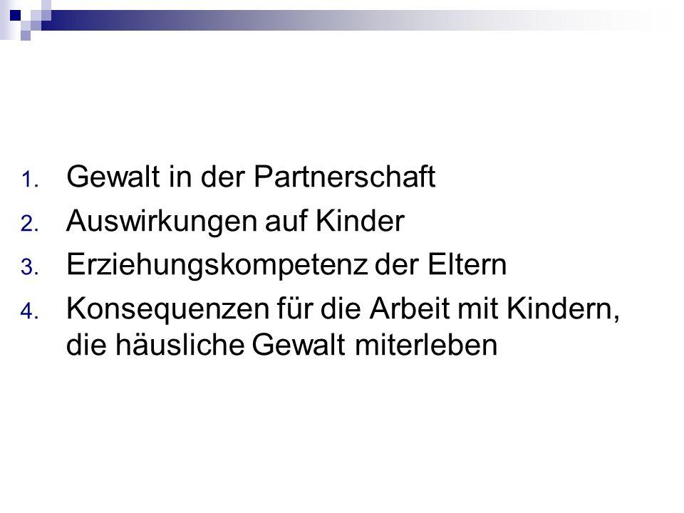 1. Gewalt in der Partnerschaft 2. Auswirkungen auf Kinder 3. Erziehungskompetenz der Eltern 4. Konsequenzen für die Arbeit mit Kindern, die häusliche
