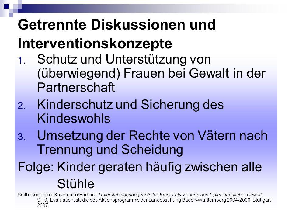 Getrennte Diskussionen und Interventionskonzepte 1. Schutz und Unterstützung von (überwiegend) Frauen bei Gewalt in der Partnerschaft 2. Kinderschutz