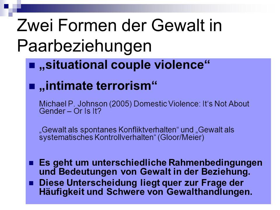 situational couple violence – Gewalt als spontanes Konfliktverhalten Nicht eingebettet in ein Muster von Macht und Kontrolle Gewalthandlungen in einzelnen eskalierten Konflikten oder Serien von Konflikten.