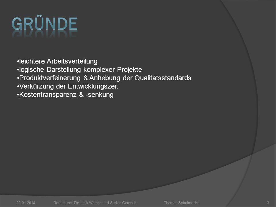Thema: Spiralmodell 05.01.2014Referat von Dominik Werner und Stefan Gerasch3 leichtere Arbeitsverteilung logische Darstellung komplexer Projekte Produ