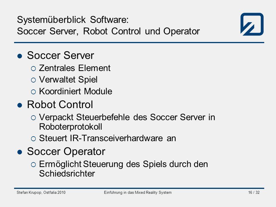 Stefan Krupop, Ostfalia 2010Einführung in das Mixed Reality System16 / 32 Systemüberblick Software: Soccer Server, Robot Control und Operator Soccer S