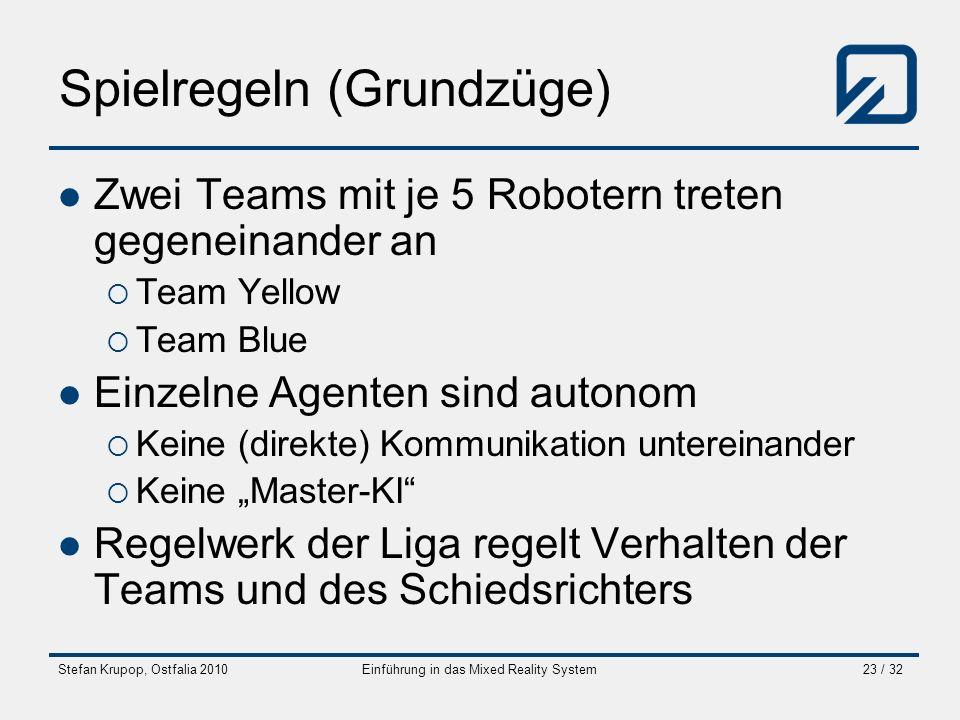 Stefan Krupop, Ostfalia 2010Einführung in das Mixed Reality System23 / 32 Spielregeln (Grundzüge) Zwei Teams mit je 5 Robotern treten gegeneinander an