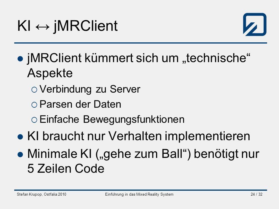 Stefan Krupop, Ostfalia 2010Einführung in das Mixed Reality System24 / 32 KI jMRClient jMRClient kümmert sich um technische Aspekte Verbindung zu Serv
