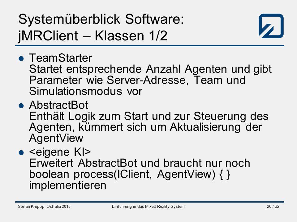 Stefan Krupop, Ostfalia 2010Einführung in das Mixed Reality System26 / 32 Systemüberblick Software: jMRClient – Klassen 1/2 TeamStarter Startet entspr