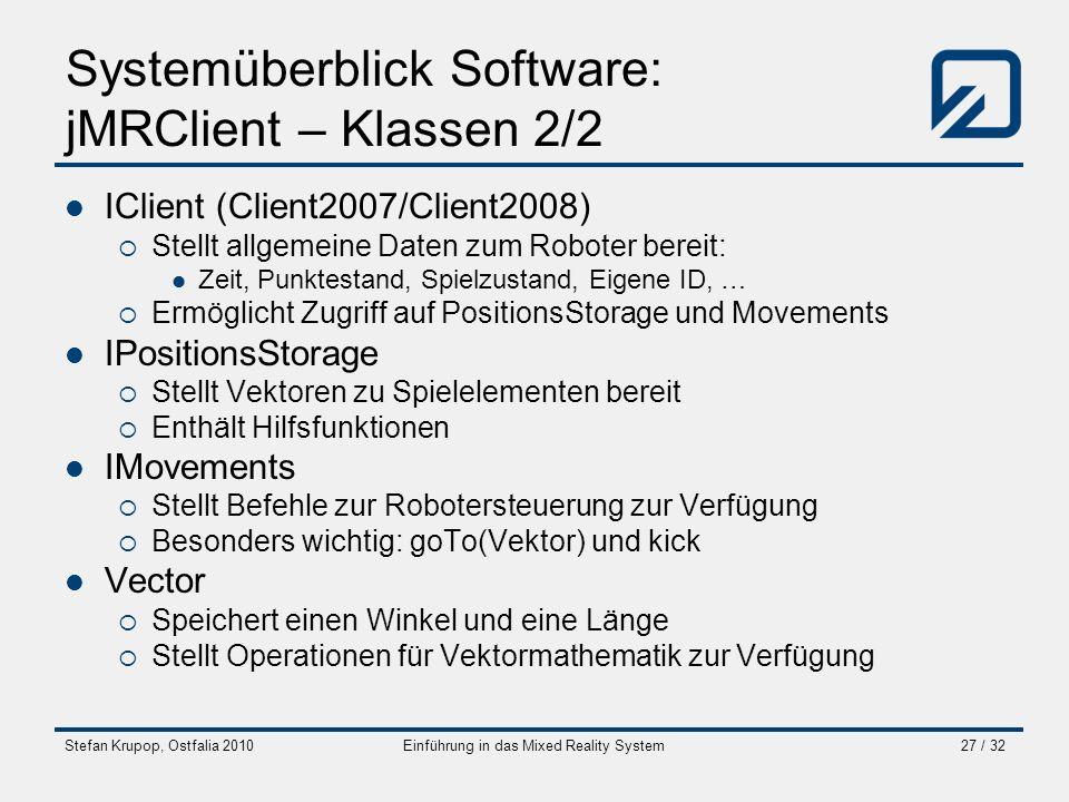 Stefan Krupop, Ostfalia 2010Einführung in das Mixed Reality System27 / 32 Systemüberblick Software: jMRClient – Klassen 2/2 IClient (Client2007/Client