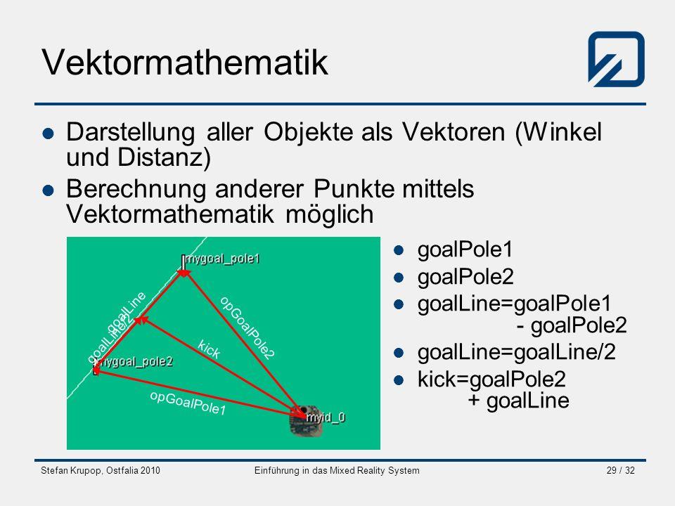 Stefan Krupop, Ostfalia 2010Einführung in das Mixed Reality System29 / 32 Vektormathematik Darstellung aller Objekte als Vektoren (Winkel und Distanz)