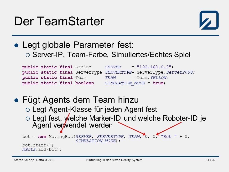 Stefan Krupop, Ostfalia 2010Einführung in das Mixed Reality System31 / 32 Der TeamStarter Legt globale Parameter fest: Server-IP, Team-Farbe, Simulier