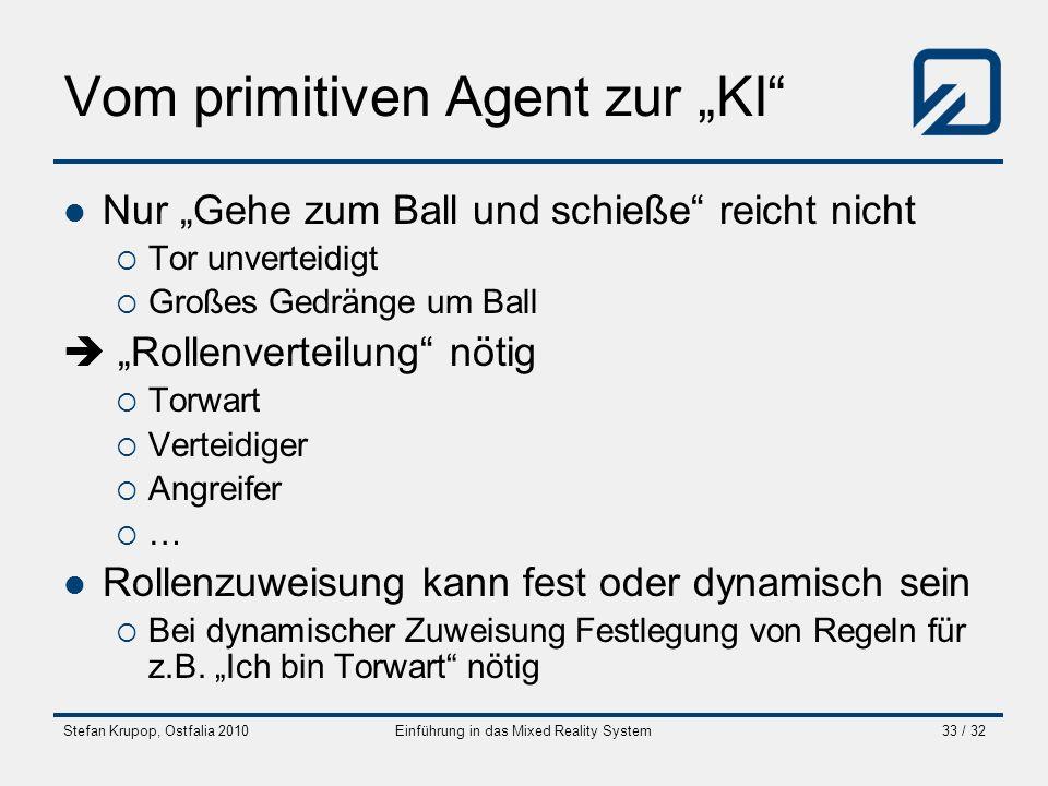 Stefan Krupop, Ostfalia 2010Einführung in das Mixed Reality System33 / 32 Vom primitiven Agent zur KI Nur Gehe zum Ball und schieße reicht nicht Tor u
