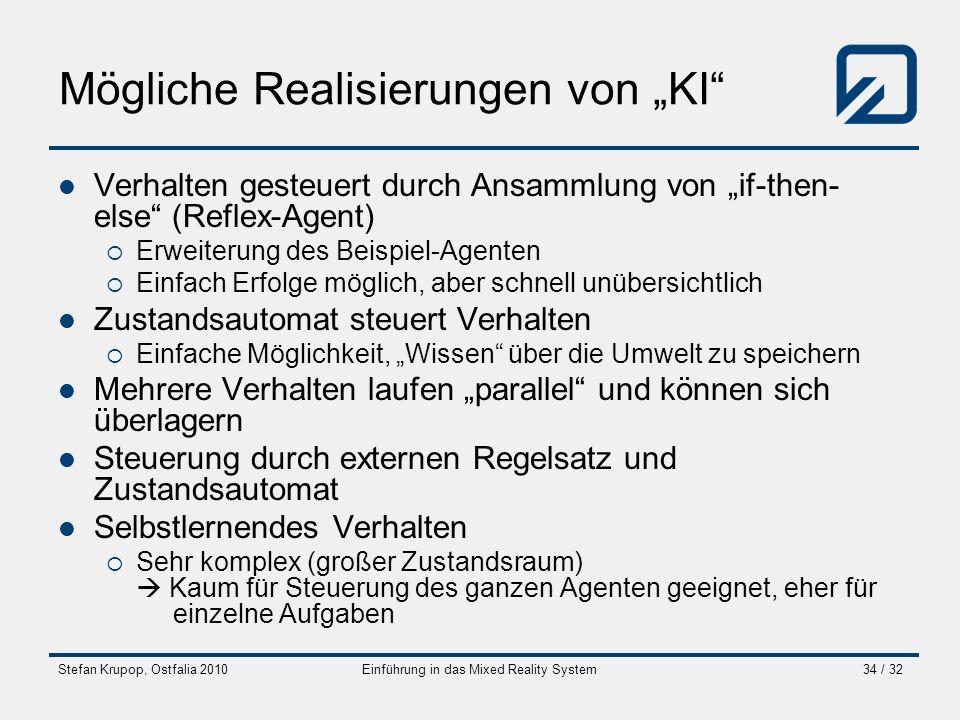 Stefan Krupop, Ostfalia 2010Einführung in das Mixed Reality System34 / 32 Mögliche Realisierungen von KI Verhalten gesteuert durch Ansammlung von if-t
