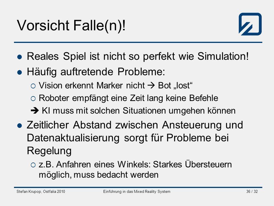 Stefan Krupop, Ostfalia 2010Einführung in das Mixed Reality System36 / 32 Vorsicht Falle(n)! Reales Spiel ist nicht so perfekt wie Simulation! Häufig