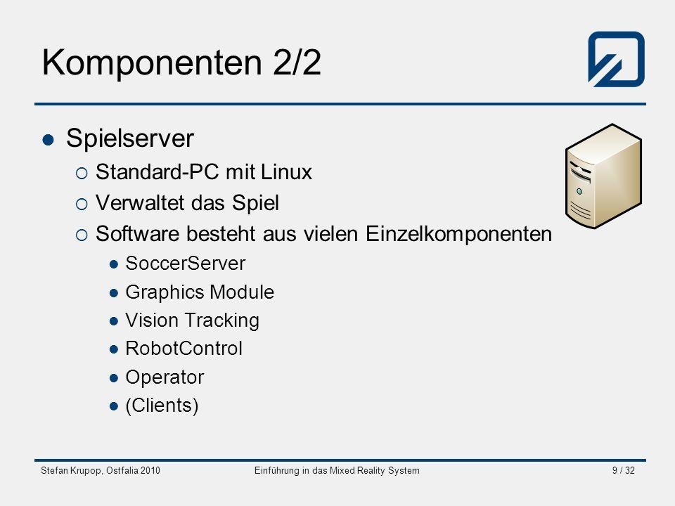 Stefan Krupop, Ostfalia 2010Einführung in das Mixed Reality System9 / 32 Komponenten 2/2 Spielserver Standard-PC mit Linux Verwaltet das Spiel Softwar