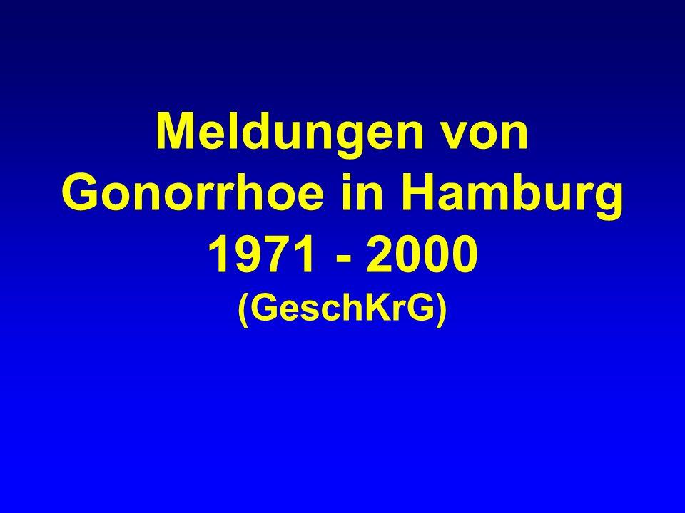 Gonorrhoe in Hamburg gemeldete Fälle nach Geschlecht, 1971-2000