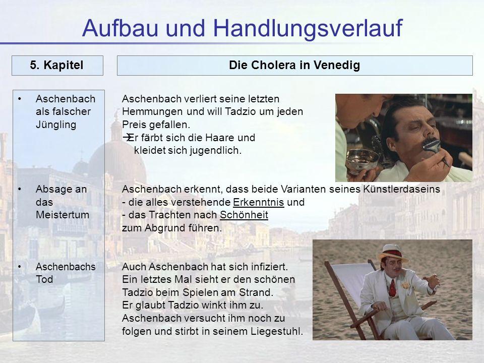 Aufbau und Handlungsverlauf Aschenbach als falscher Jüngling Absage an das Meistertum Aschenbachs Tod 5. KapitelDie Cholera in Venedig Aschenbach verl