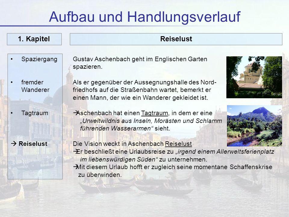 Aufbau und Handlungsverlauf Spaziergang fremder Wanderer Tagtraum Reiselust 1. Kapitel Gustav Aschenbach geht im Englischen Garten spazieren. Als er g