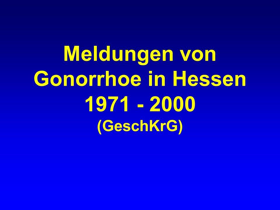 Gonorrhoe in Hessen gemeldete Fälle nach Geschlecht, 1971-2000