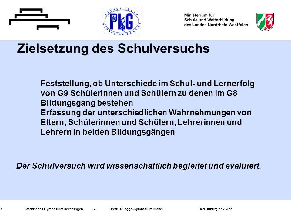 Städtisches Gymnasium Beverungen – Petrus-Legge-Gymnasium Brakel Bad Driburg 2.12.20114 Haupt- schule Real- schule Gesamt- schule Gymnasium G9 Gymnasium G 8 Kernstunden 175174174 - 179176 - 179 151 - 153 Ergänzungsstunden 894 - 94 - 75 - 7 Ergänzungsstunden für Individuelle Förderung 55555 Gesamtwochenstun den 183 + 5 158 + 5 Stundenvolumen in den einzelnen Schulformen gemäß APO SI