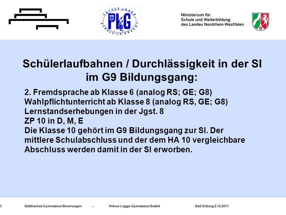Städtisches Gymnasium Beverungen – Petrus-Legge-Gymnasium Brakel Bad Driburg 2.12.20115 2. Fremdsprache ab Klasse 6 (analog RS; GE; G8) Wahlpflichtunt