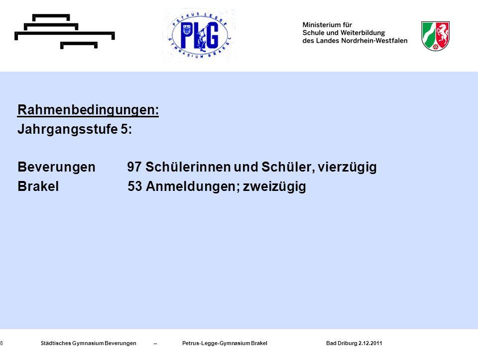 Städtisches Gymnasium Beverungen – Petrus-Legge-Gymnasium Brakel Bad Driburg 2.12.20116 Rahmenbedingungen: Jahrgangsstufe 5: Beverungen 97 Schülerinne