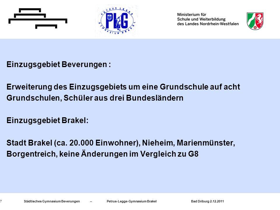 Städtisches Gymnasium Beverungen – Petrus-Legge-Gymnasium Brakel Bad Driburg 2.12.20117 Einzugsgebiet Beverungen : Erweiterung des Einzugsgebiets um e
