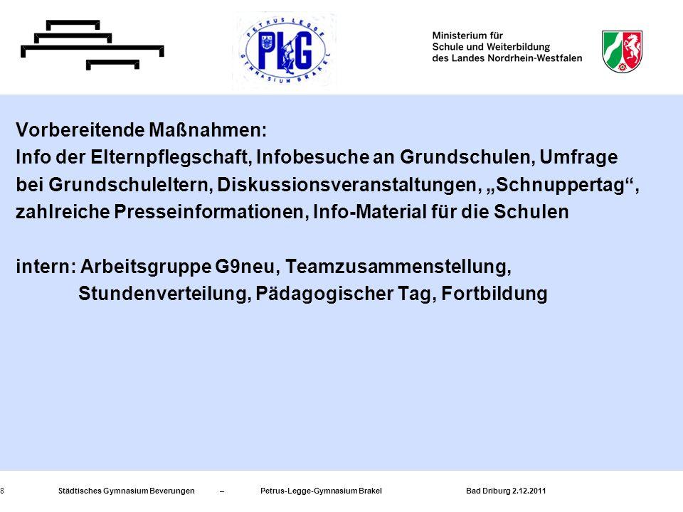 Städtisches Gymnasium Beverungen – Petrus-Legge-Gymnasium Brakel Bad Driburg 2.12.20118 Vorbereitende Maßnahmen: Info der Elternpflegschaft, Infobesuc