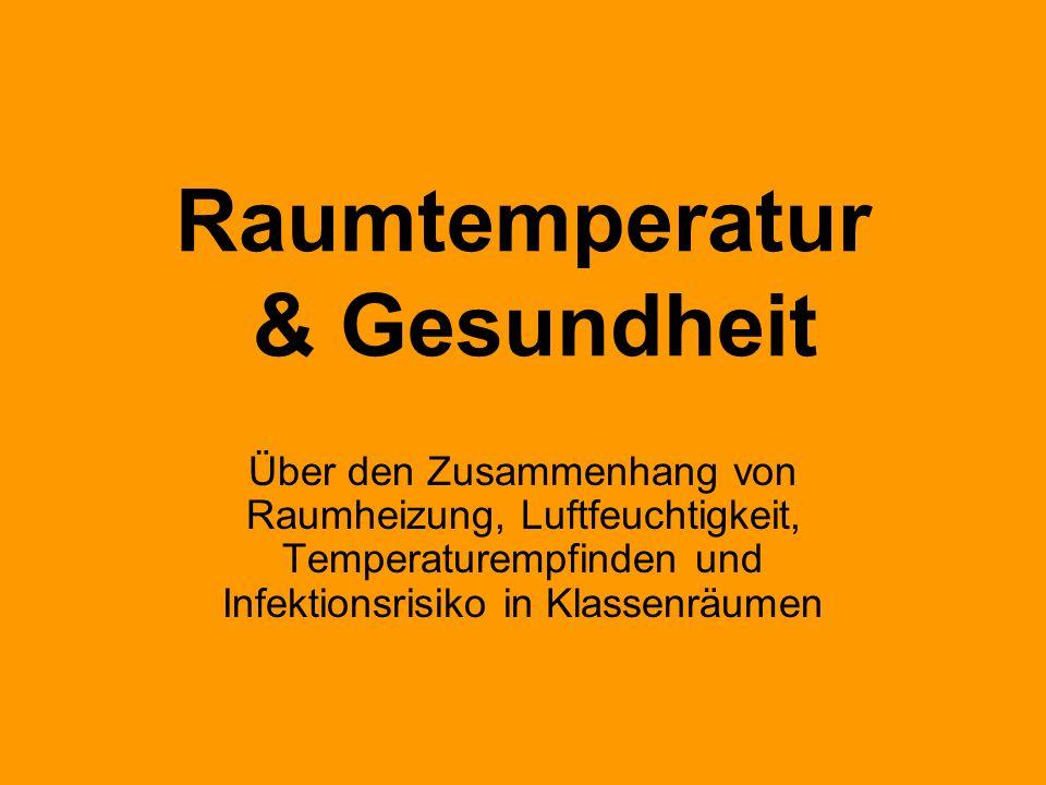 Raumtemperatur & Gesundheit Über den Zusammenhang von Raumheizung, Luftfeuchtigkeit, Temperaturempfinden und Infektionsrisiko in Klassenräumen