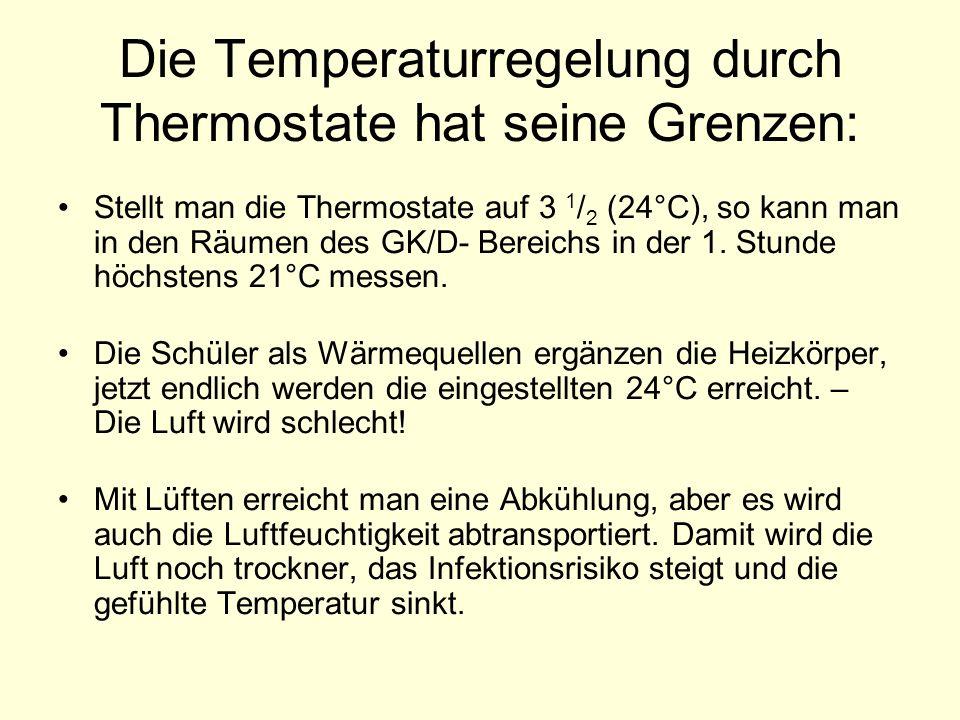 Die Temperaturregelung durch Thermostate hat seine Grenzen: Stellt man die Thermostate auf 3 1 / 2 (24°C), so kann man in den Räumen des GK/D- Bereich