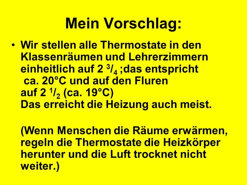 Mein Vorschlag: Wir stellen alle Thermostate in den Klassenräumen und Lehrerzimmern einheitlich auf 2 3 / 4 ;das entspricht ca. 20°C und auf den Flure