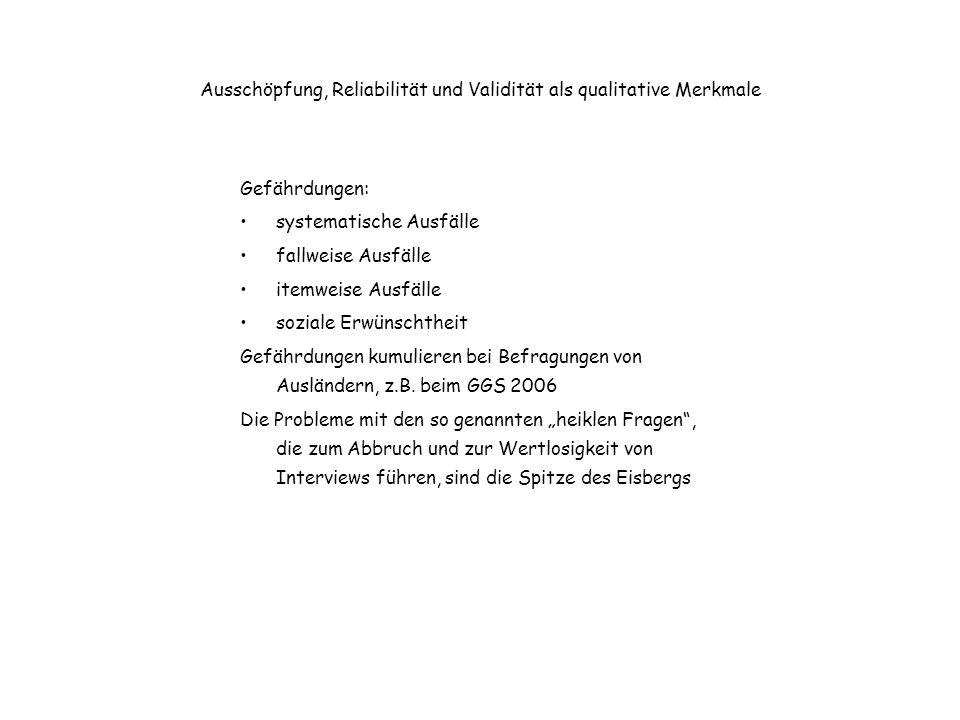 Heikle Fragen in den 50er Jahren große Überraschung der Sozialwissenschaftler (und Sexualwissenschaftler) über Auskunftsbereitschaft über intime Fragen (Kinsey-Report; Hymann u.a., 1954, Interviewing in Social Research; von Friedeburg, 1953, Die Umfrage in der Intimsphäre) Kulturelle Bedingtheit.