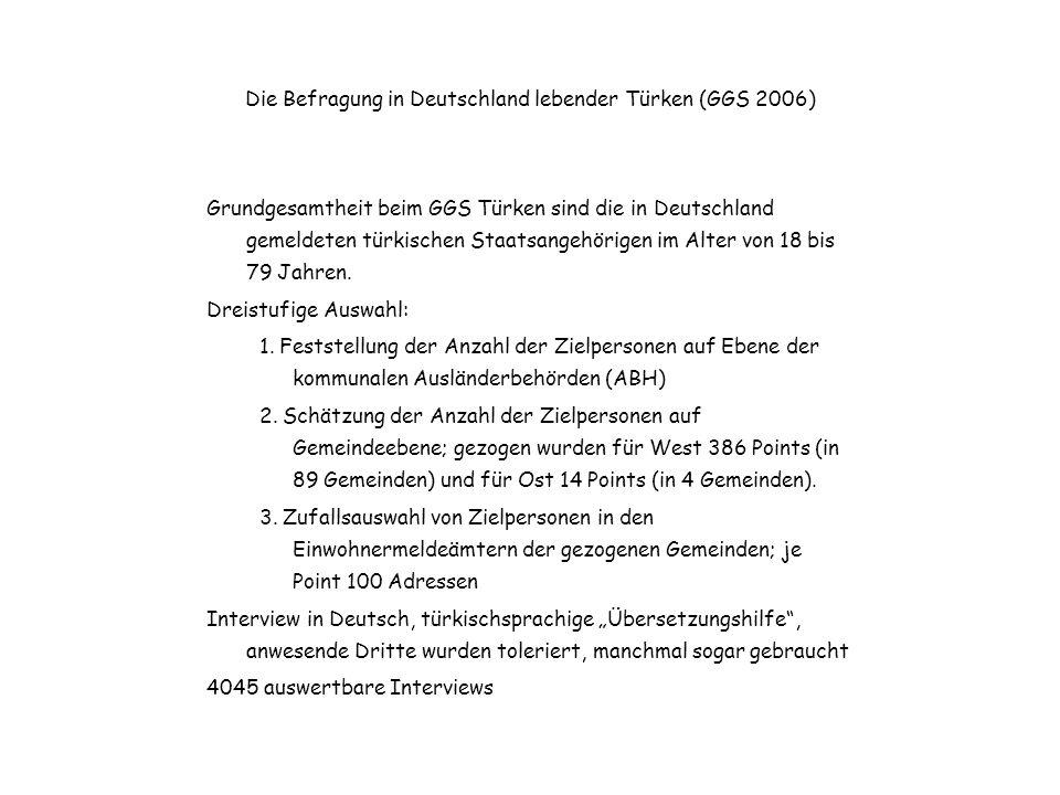 GGS-Erfahrungen Bei zwei Drittel der Interviews wurde die Übersetzungshilfe genutzt 73 min Interviewdauer, 16 Minuten länger als mit den deutschsprachigen Zielpersonen des GGS 2005; Gründe: –größere Haushalte und Familien –geringere Bildung der Zielpersonen –Verständigungsschwierigkeiten Ausschöpfung 34,1 % Wiederbefragungsbereitschaft über 60 %
