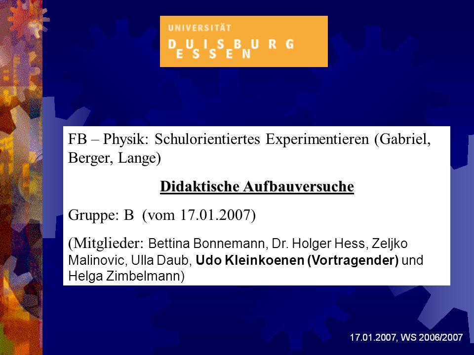 Inhaltsverzeichnis 1.0 Thema 2.0 Geschichtliches 3.0 Sinn des Versuches 4.1 Lehrplan (LP) und Vorwissen 4.2 Vorgehensweise zur Stoffvermittlung 4.2.1 Der Versuchsaufbau des Experimentes/Darstellung 4.2.1.1 Beschreibung der Protokollskizze 4.2.1.2 Versuchsanordnung 4.2.2 Die Theorie (Animation) 5.0 Diskussion zum Gesamtvortrag 6.0 Quellennachweis 2