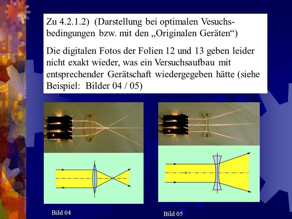 Zu 4.2.1.2) (Darstellung bei optimalen Vesuchs- bedingungen bzw. mit den Originalen Geräten) Die digitalen Fotos der Folien 12 und 13 geben leider nic
