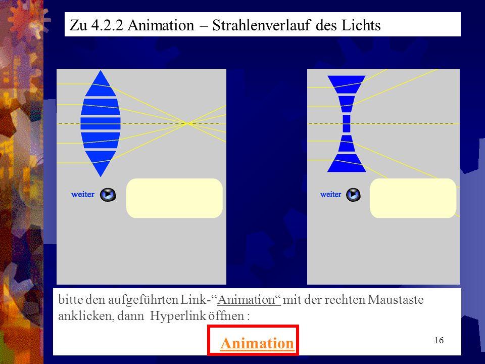 bitte den aufgeführten Link-Animation mit der rechten Maustaste anklicken, dann Hyperlink öffnen : Animation Zu 4.2.2 Animation – Strahlenverlauf des