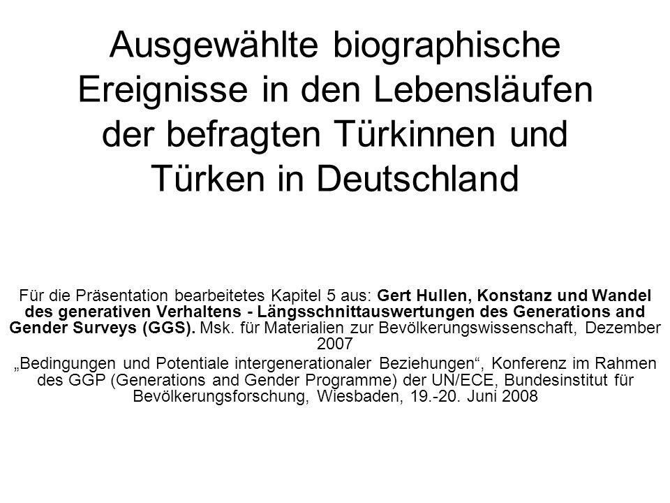 Ausgewählte biographische Ereignisse in den Lebensläufen der befragten Türkinnen und Türken in Deutschland Für die Präsentation bearbeitetes Kapitel 5