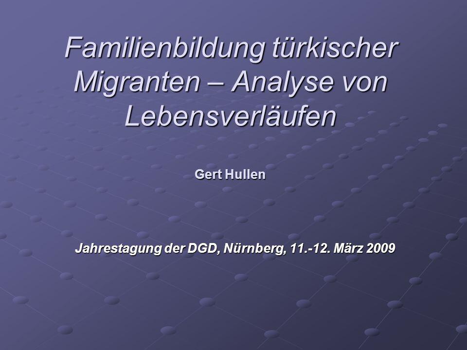 Familienbildung türkischer Migranten – Analyse von Lebensverläufen Gert Hullen Jahrestagung der DGD, Nürnberg, 11.-12. März 2009