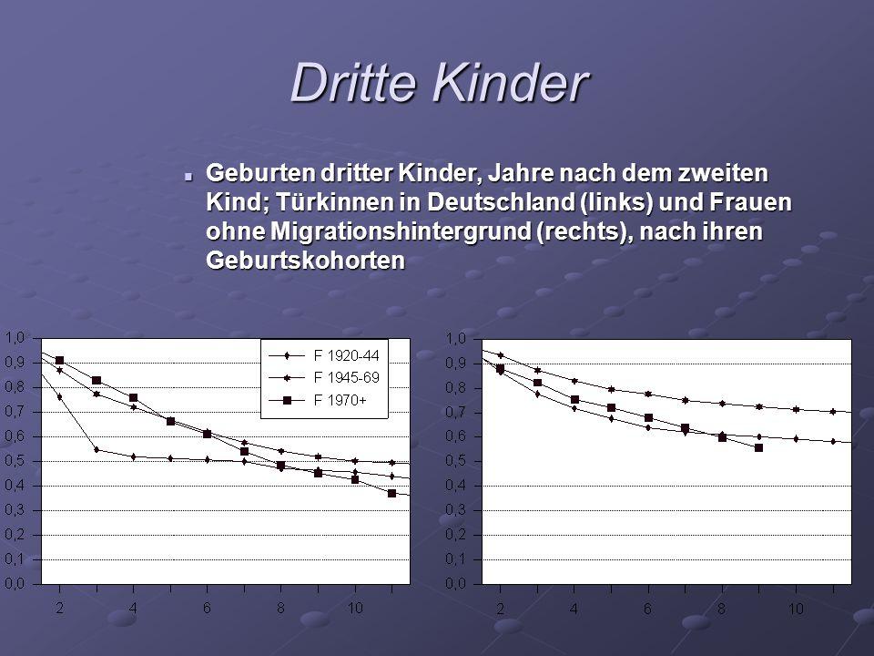 Dritte Kinder Geburten dritter Kinder, Jahre nach dem zweiten Kind; Türkinnen in Deutschland (links) und Frauen ohne Migrationshintergrund (rechts), n