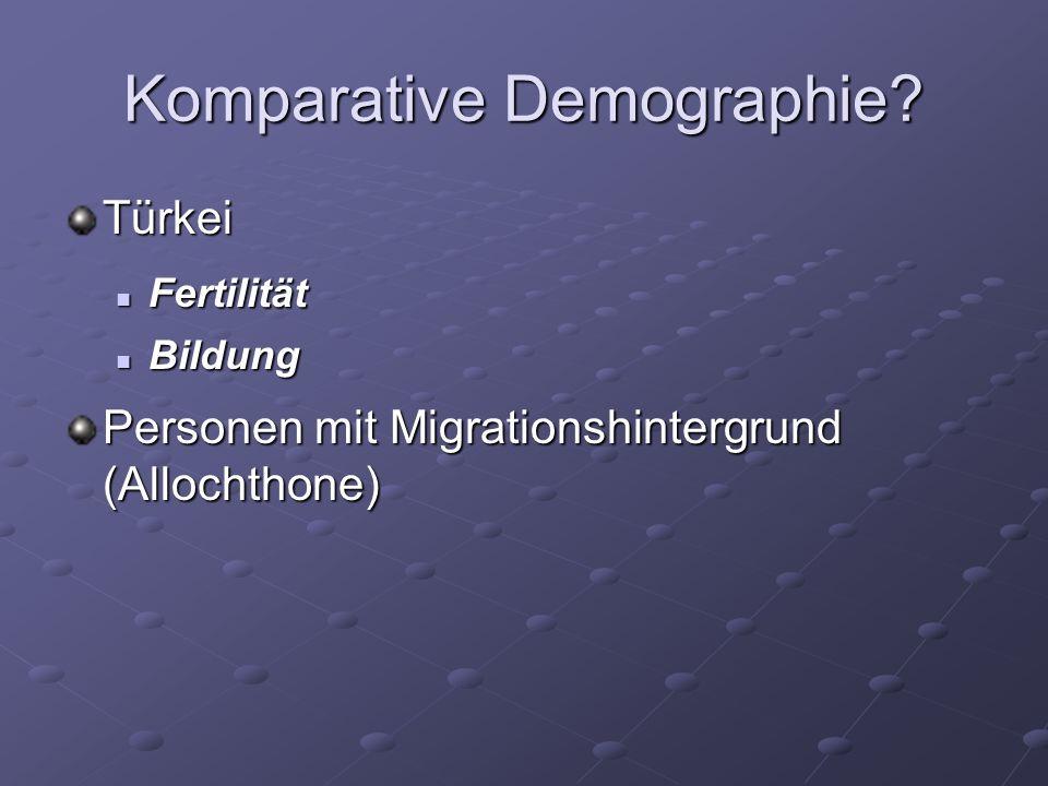 Komparative Demographie? Türkei Fertilität Fertilität Bildung Bildung Personen mit Migrationshintergrund (Allochthone)