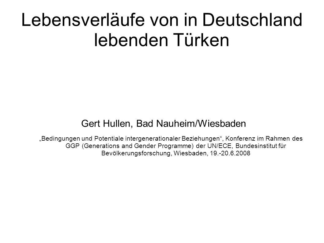 Fragestellung Bedingungen und Veränderungen der Lebensverläufe von in Deutschland lebenden Türken im Vergleich zur autochthonen Bevölkerung und im Kohortenvergleich Der GGS ist kein Integrationssurvey, und er kann nicht die ins Blickfeld geratende ethnische und kulturelle Vielfalt auch der Türken in Deutschland analysieren