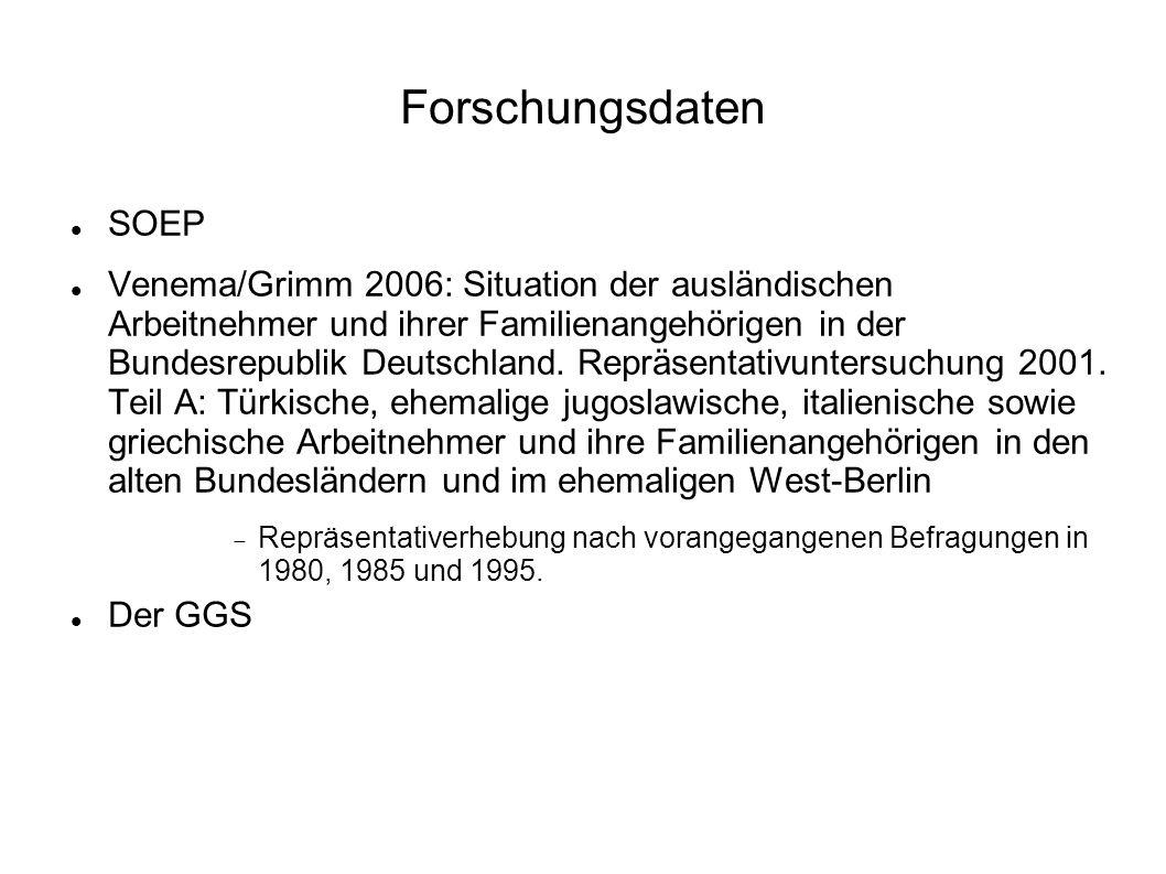 Dem Generations and Gender Survey von 2005 mit rund 10000 deutschsprachigen Befragten folgte im Jahr 2006 eine inhaltlich gleiche, ebenfalls vom BiB in Auftrag gegebene Befragung von rund 4000 in Deutschland lebenden Türkinnen und Türken (dokumentiert durch Ette et al.