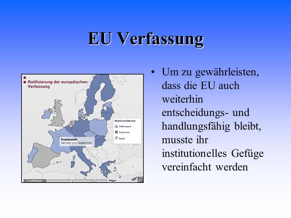 EU Verfassung Um zu gewährleisten, dass die EU auch weiterhin entscheidungs- und handlungsfähig bleibt, musste ihr institutionelles Gefüge vereinfacht