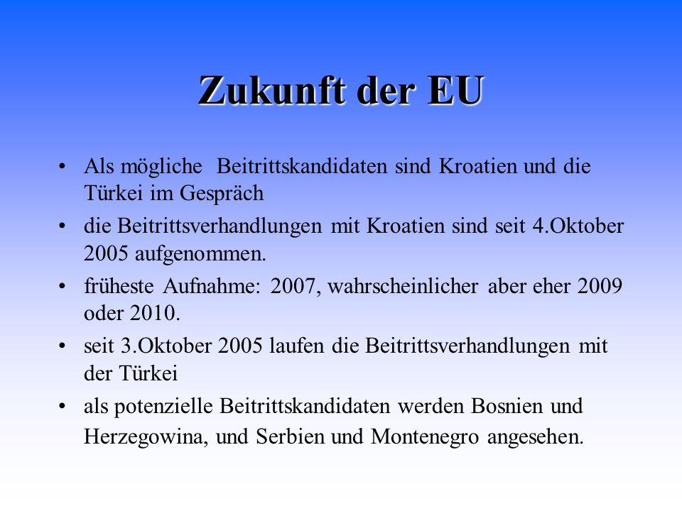 Zukunft der EU Als mögliche Beitrittskandidaten sind Kroatien und die Türkei im Gespräch die Beitrittsverhandlungen mit Kroatien sind seit 4.Oktober 2